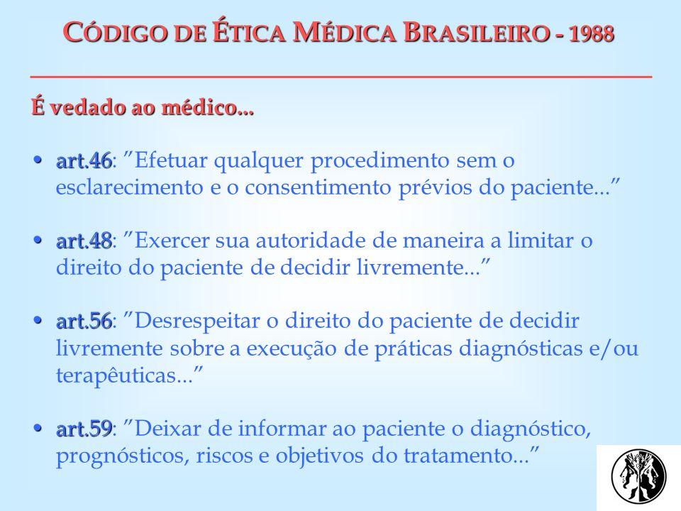 CÓDIGO DE ÉTICA MÉDICA BRASILEIRO - 1988