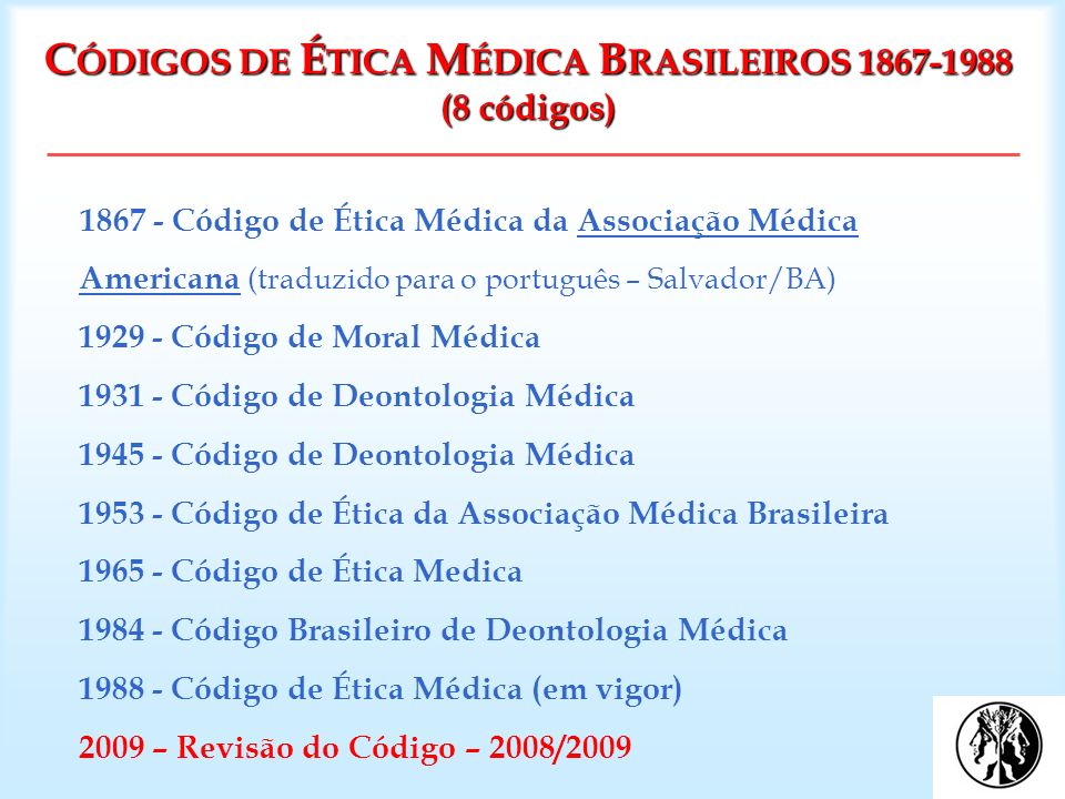 CÓDIGOS DE ÉTICA MÉDICA BRASILEIROS 1867-1988 (8 códigos)
