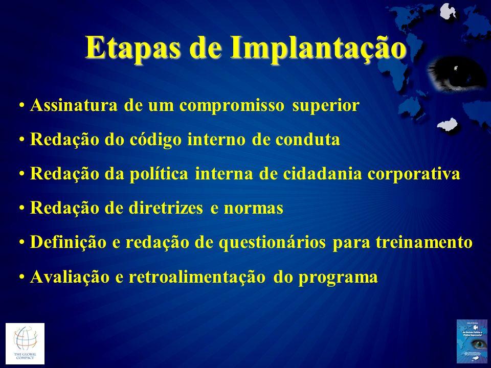 Etapas de Implantação Assinatura de um compromisso superior