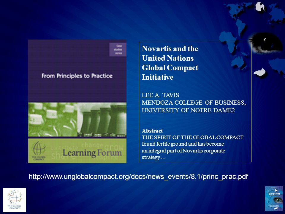 Novartis and the United Nations Global Compact Initiative