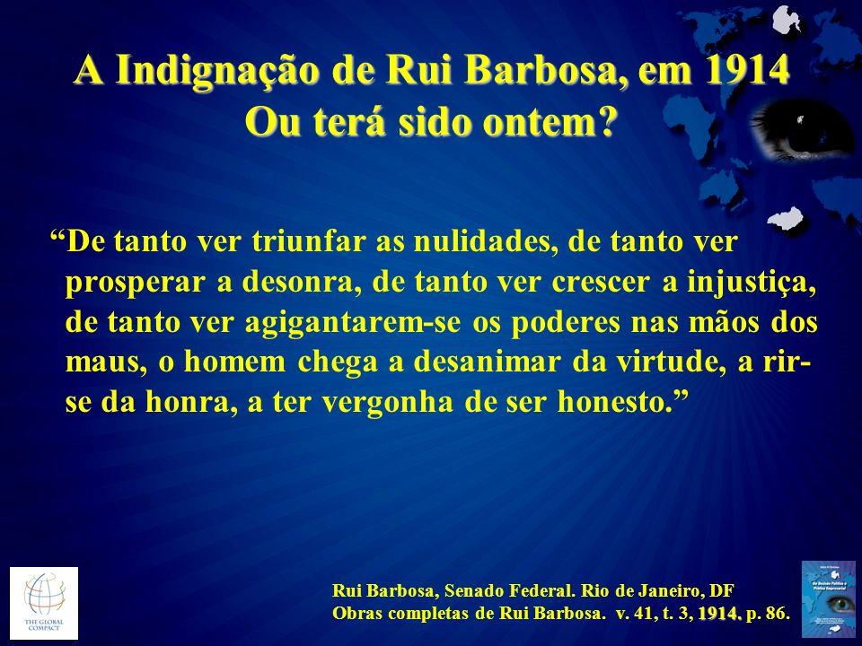 A Indignação de Rui Barbosa, em 1914 Ou terá sido ontem