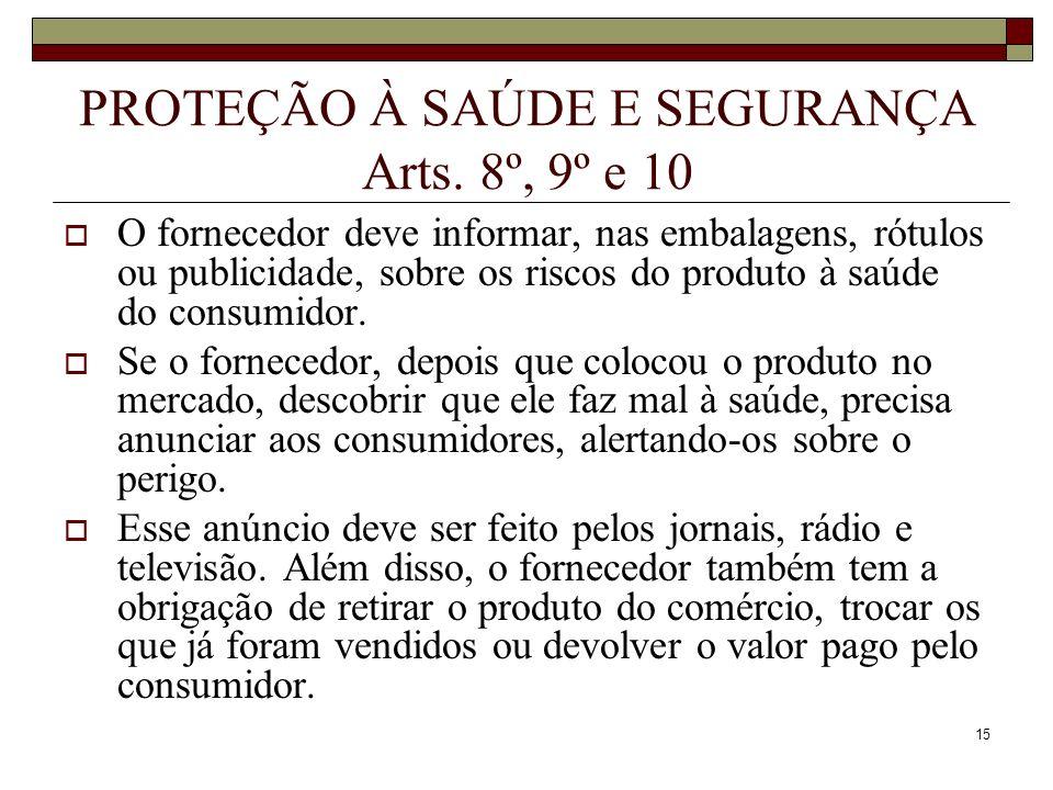 PROTEÇÃO À SAÚDE E SEGURANÇA Arts. 8º, 9º e 10