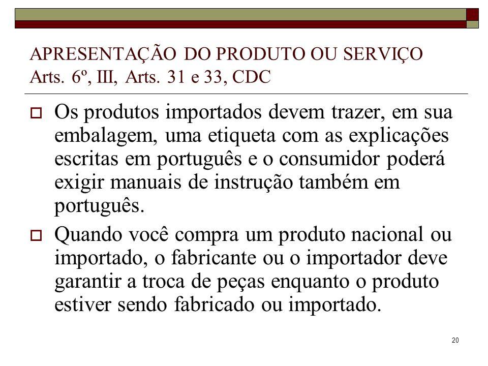APRESENTAÇÃO DO PRODUTO OU SERVIÇO Arts. 6º, III, Arts. 31 e 33, CDC