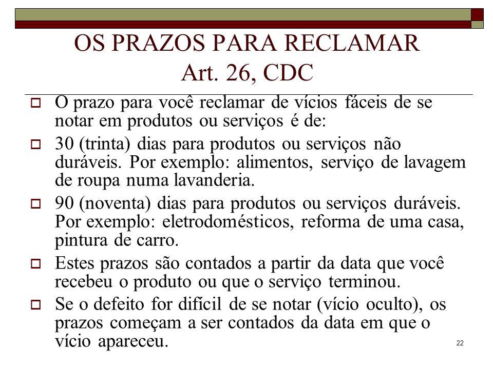 OS PRAZOS PARA RECLAMAR Art. 26, CDC