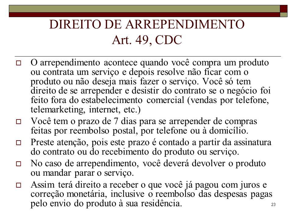 DIREITO DE ARREPENDIMENTO Art. 49, CDC