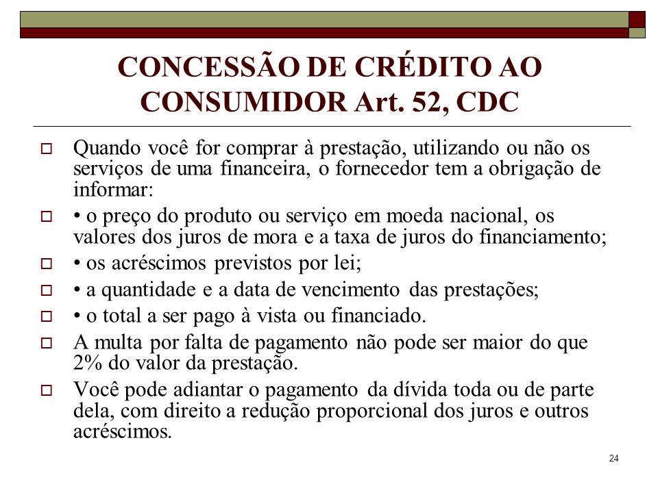 CONCESSÃO DE CRÉDITO AO CONSUMIDOR Art. 52, CDC