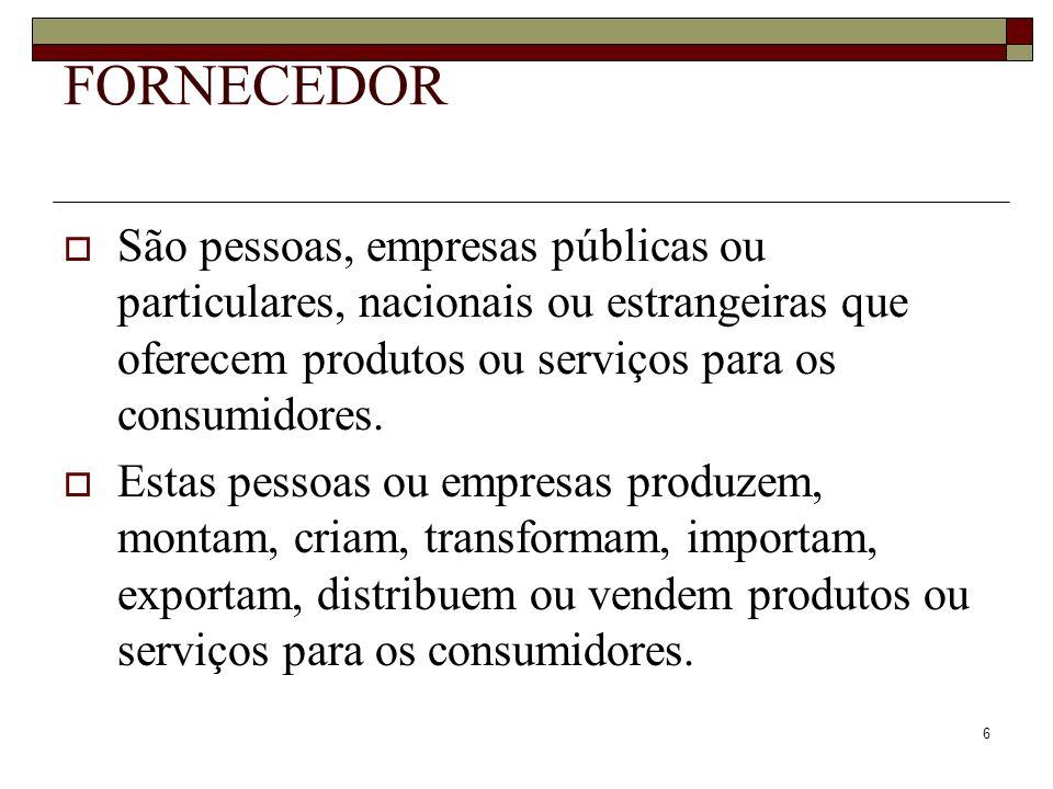 FORNECEDOR São pessoas, empresas públicas ou particulares, nacionais ou estrangeiras que oferecem produtos ou serviços para os consumidores.