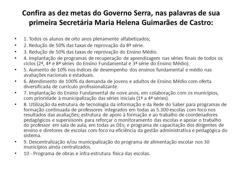 Confira as dez metas do Governo Serra, nas palavras de sua primeira Secretária Maria Helena Guimarães de Castro: