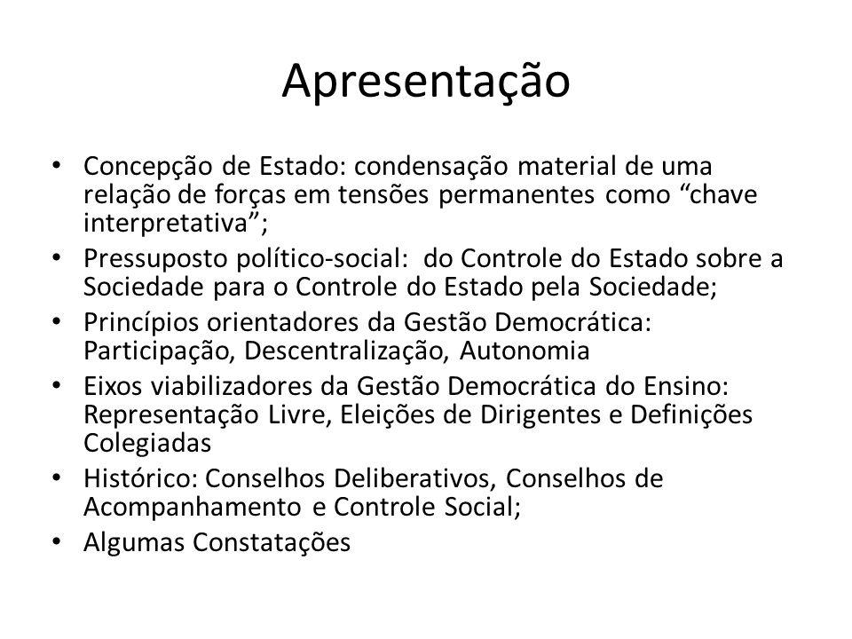 ApresentaçãoConcepção de Estado: condensação material de uma relação de forças em tensões permanentes como chave interpretativa ;