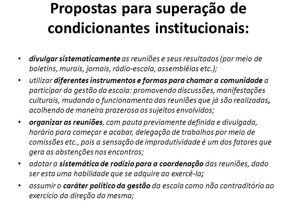 Propostas para superação de condicionantes institucionais: