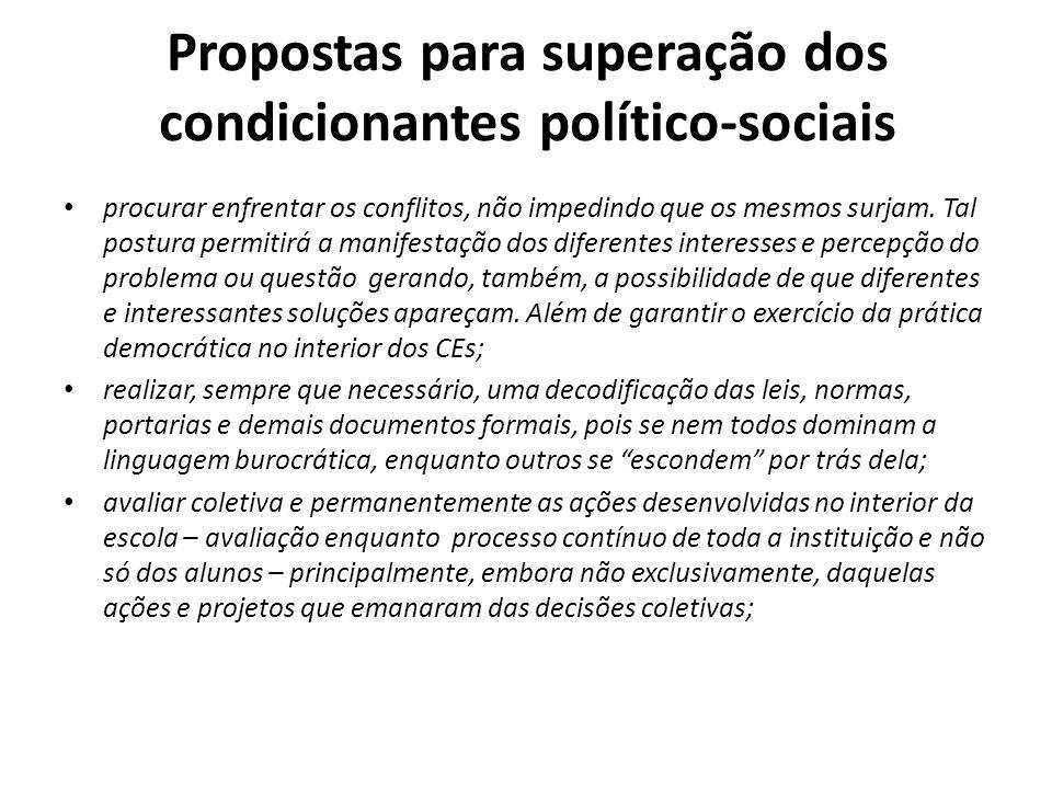 Propostas para superação dos condicionantes político-sociais