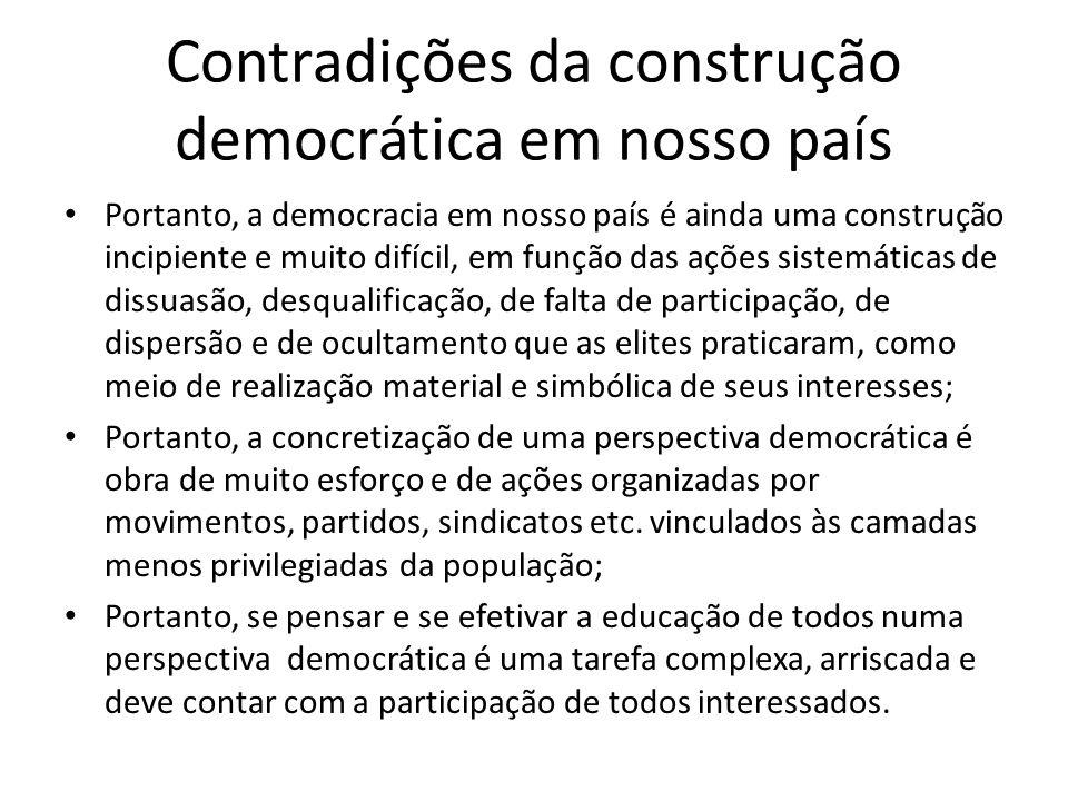 Contradições da construção democrática em nosso país