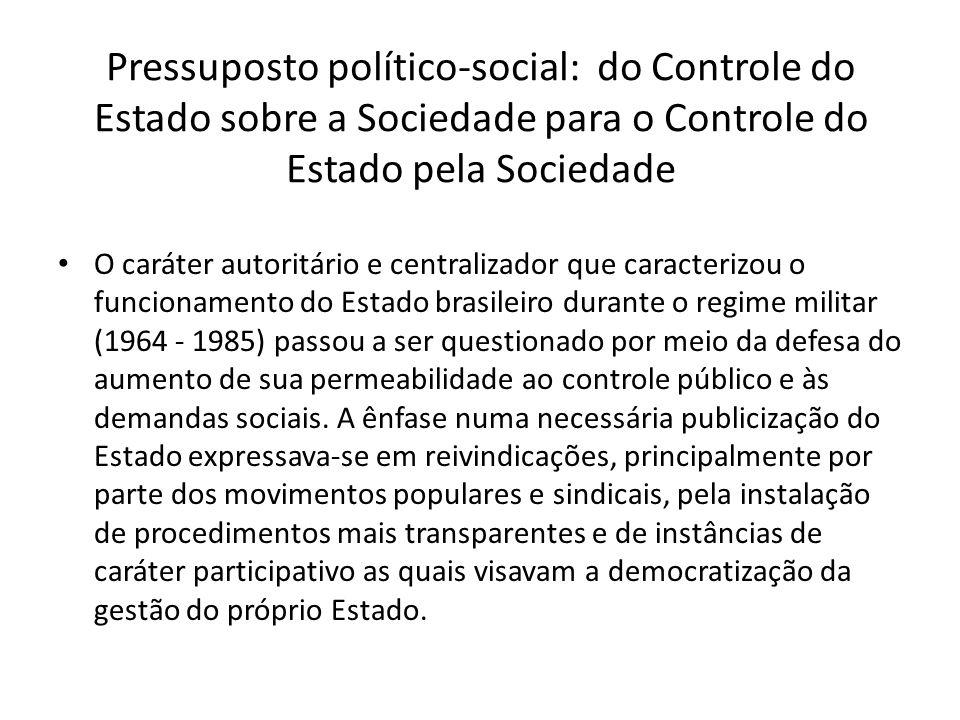 Pressuposto político-social: do Controle do Estado sobre a Sociedade para o Controle do Estado pela Sociedade
