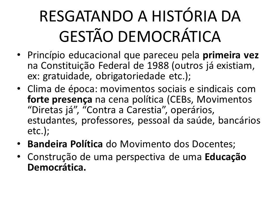 RESGATANDO A HISTÓRIA DA GESTÃO DEMOCRÁTICA
