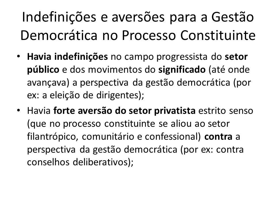 Indefinições e aversões para a Gestão Democrática no Processo Constituinte