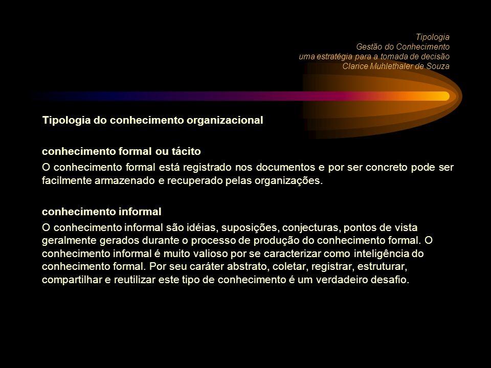 Tipologia do conhecimento organizacional conhecimento formal ou tácito
