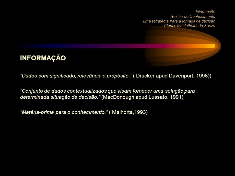 Informação Gestão do Conhecimento uma estratégia para a tomada de decisão Clarice Muhlethaler de Souza