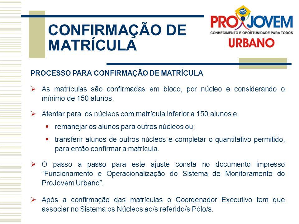 CONFIRMAÇÃO DE MATRÍCULA