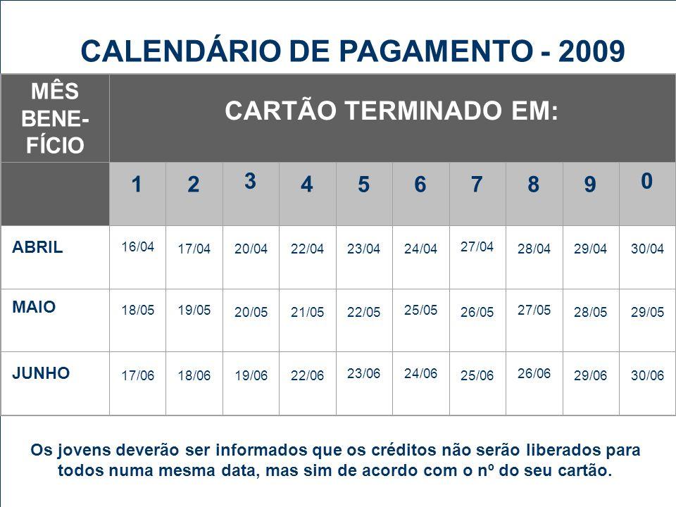 CALENDÁRIO DE PAGAMENTO - 2009