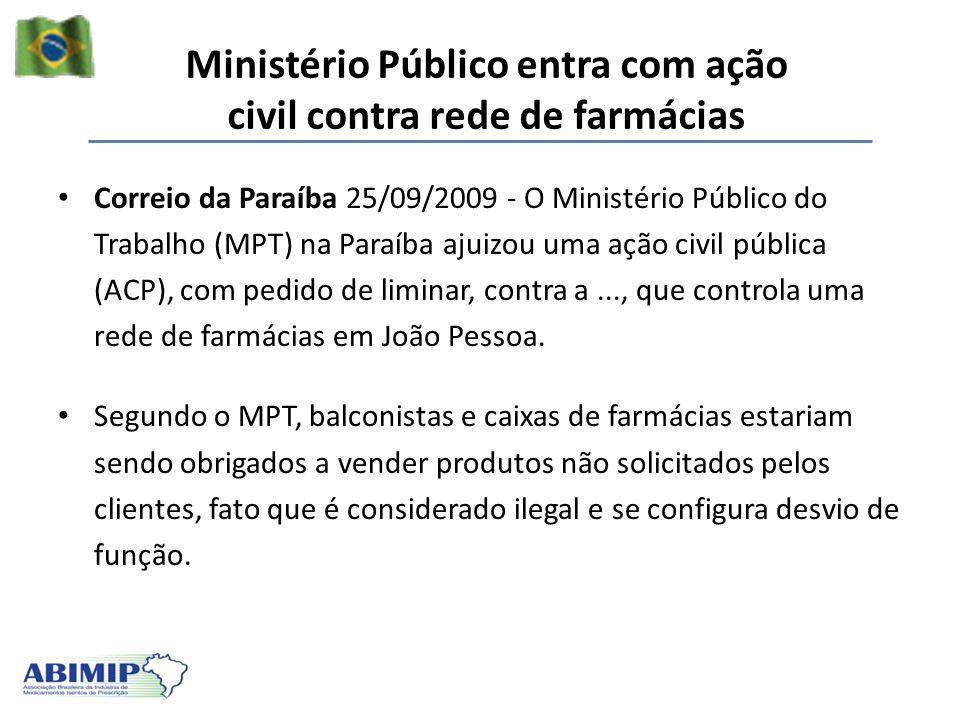 Ministério Público entra com ação civil contra rede de farmácias
