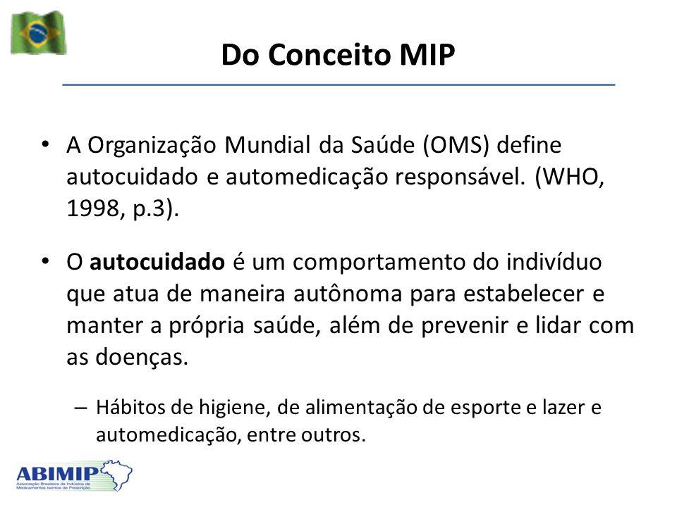 Do Conceito MIP A Organização Mundial da Saúde (OMS) define autocuidado e automedicação responsável. (WHO, 1998, p.3).