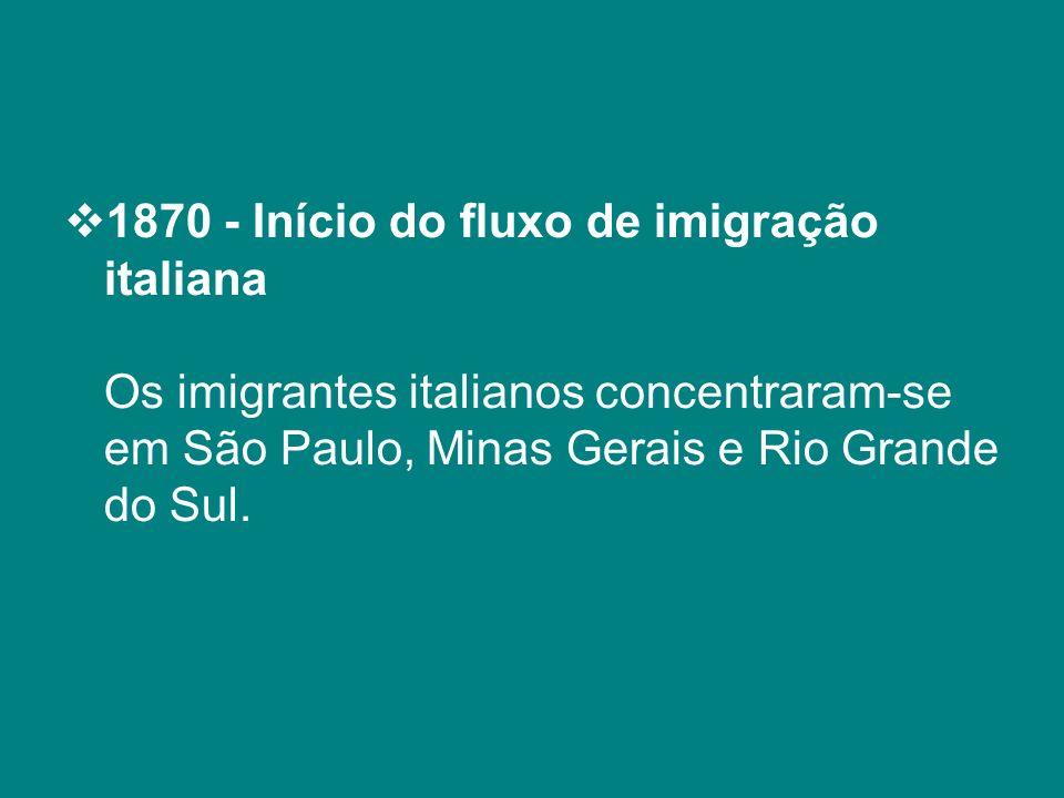 1870 - Início do fluxo de imigração italiana Os imigrantes italianos concentraram-se em São Paulo, Minas Gerais e Rio Grande do Sul.