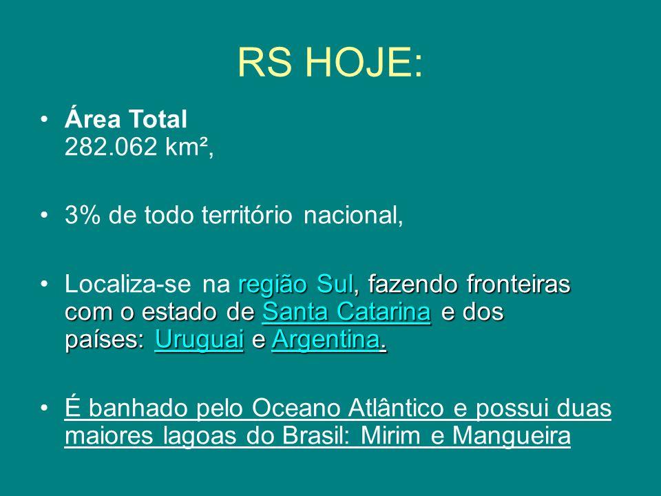 RS HOJE: Área Total 282.062 km², 3% de todo território nacional,