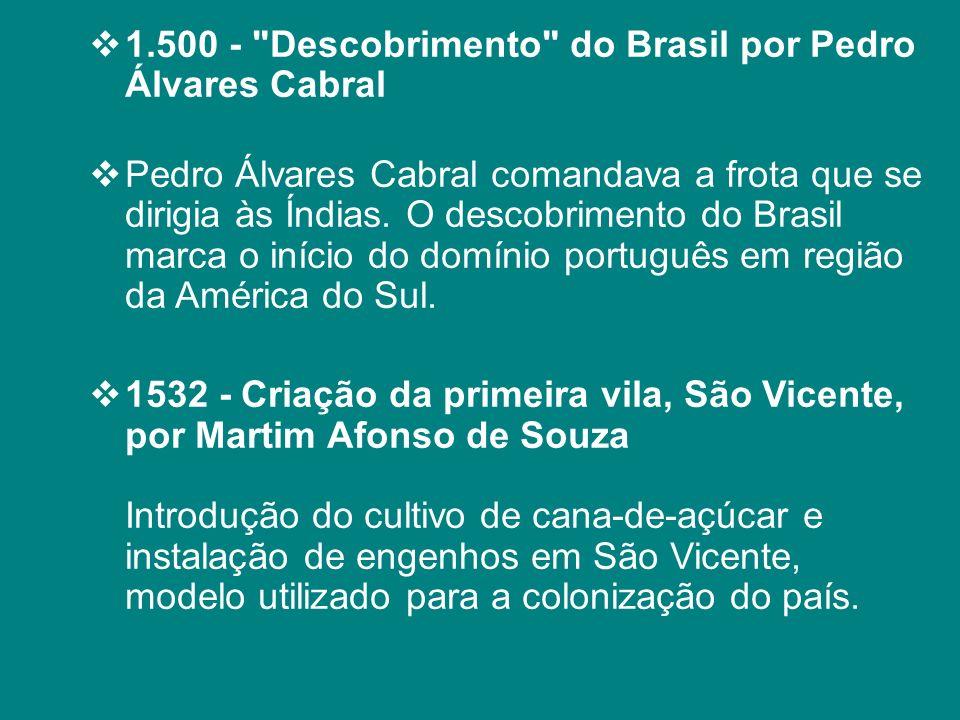 1.500 - Descobrimento do Brasil por Pedro Álvares Cabral
