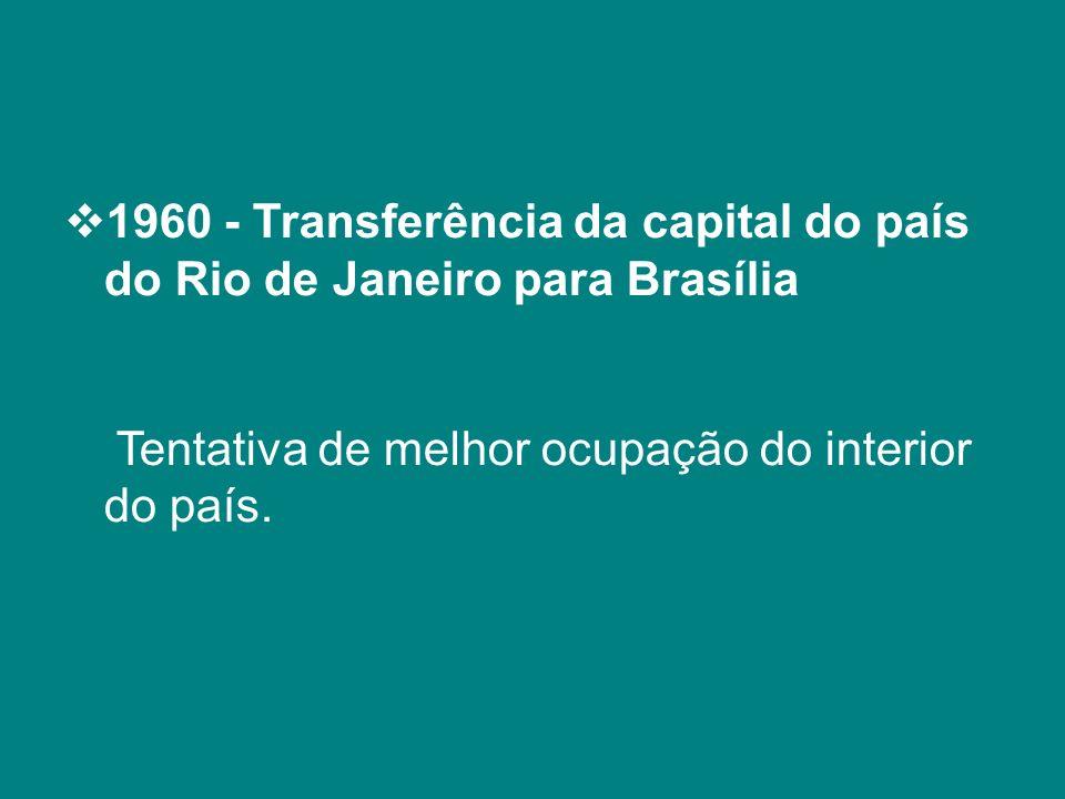 1960 - Transferência da capital do país do Rio de Janeiro para Brasília Tentativa de melhor ocupação do interior do país.