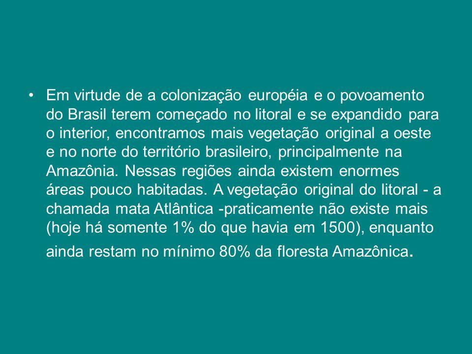 Em virtude de a colonização européia e o povoamento do Brasil terem começado no litoral e se expandido para o interior, encontramos mais vegetação original a oeste e no norte do território brasileiro, principalmente na Amazônia.