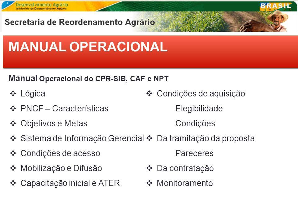 MANUAL OPERACIONAL Manual Operacional do CPR-SIB, CAF e NPT Lógica