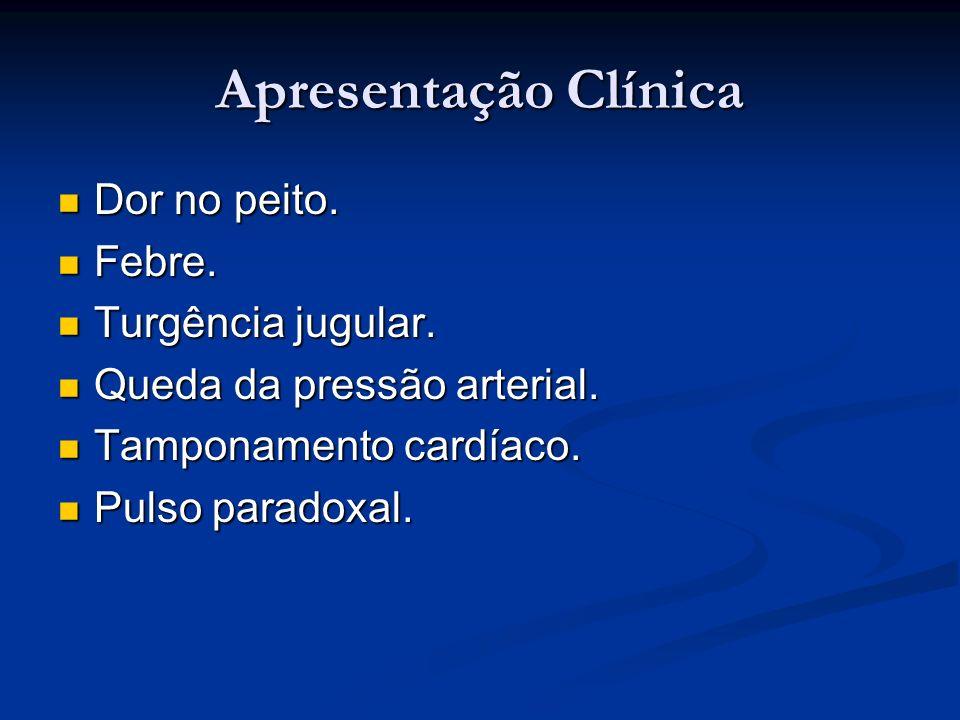 Apresentação Clínica Dor no peito. Febre. Turgência jugular.