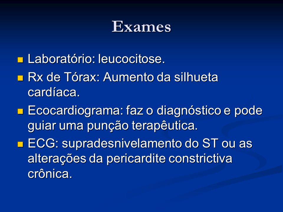 Exames Laboratório: leucocitose.
