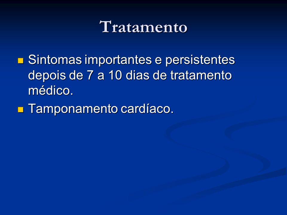 Tratamento Sintomas importantes e persistentes depois de 7 a 10 dias de tratamento médico.