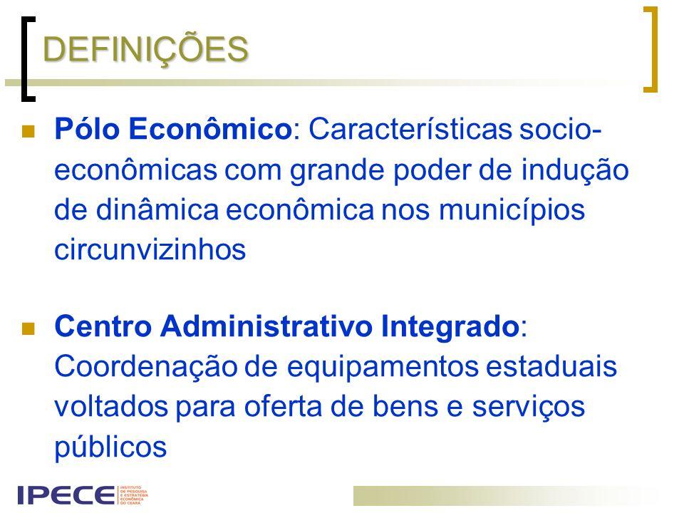 DEFINIÇÕES Pólo Econômico: Características socio- econômicas com grande poder de indução de dinâmica econômica nos municípios circunvizinhos.