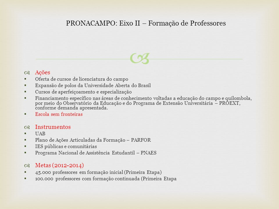 PRONACAMPO: Eixo II – Formação de Professores