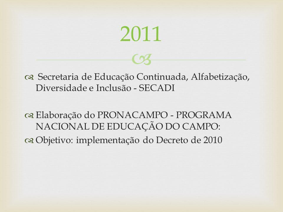 2011 Secretaria de Educação Continuada, Alfabetização, Diversidade e Inclusão - SECADI.
