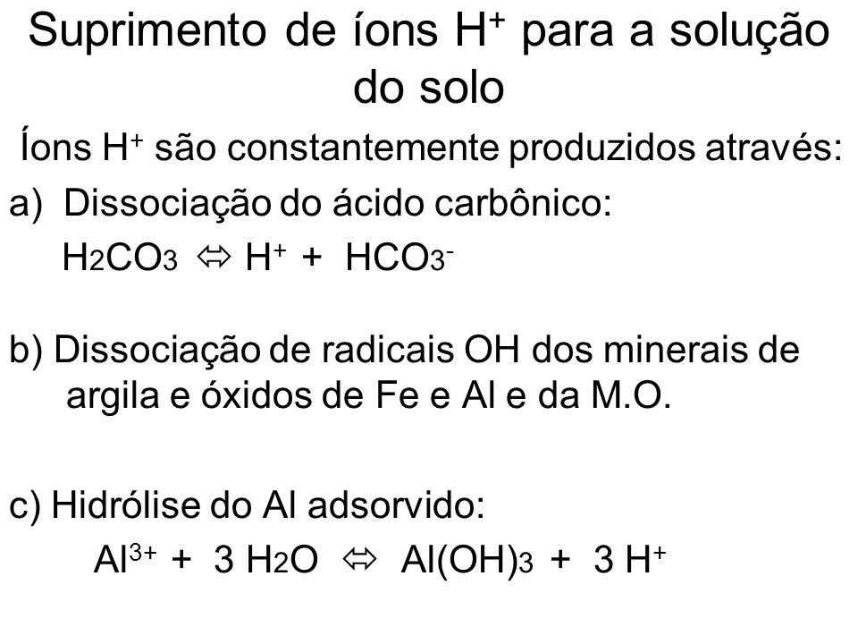 Suprimento de íons H+ para a solução do solo