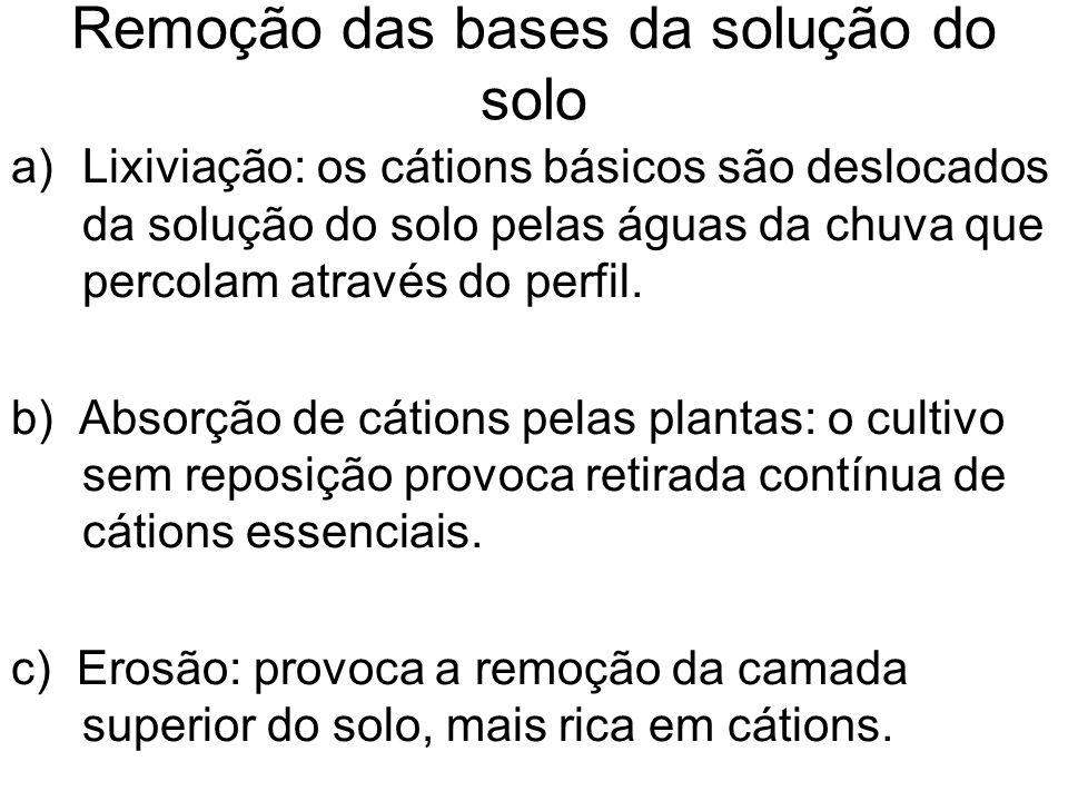 Remoção das bases da solução do solo