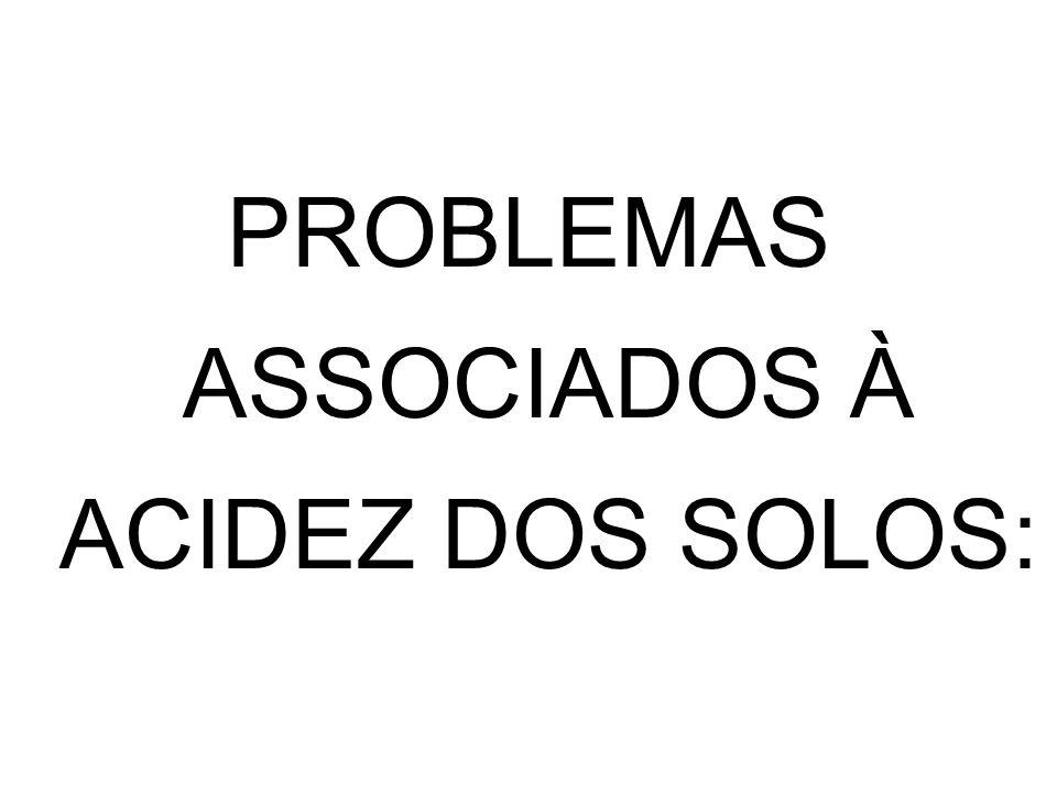 PROBLEMAS ASSOCIADOS À ACIDEZ DOS SOLOS: