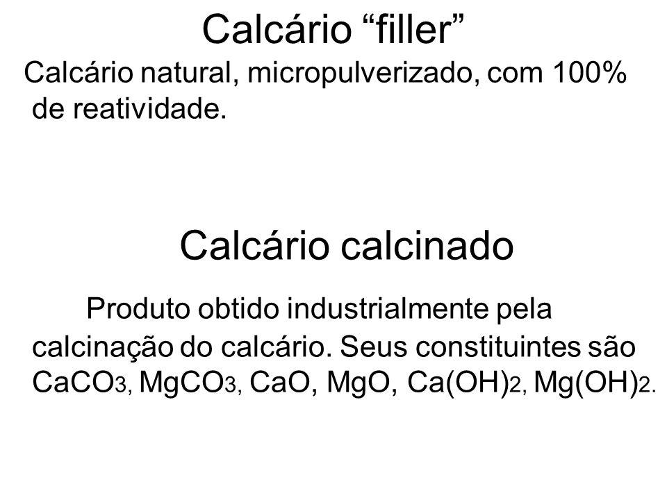 Calcário filler Calcário natural, micropulverizado, com 100% de reatividade. Calcário calcinado.