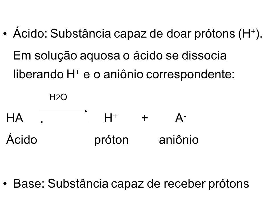 Ácido: Substância capaz de doar prótons (H+).