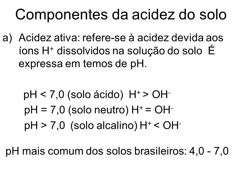 Componentes da acidez do solo