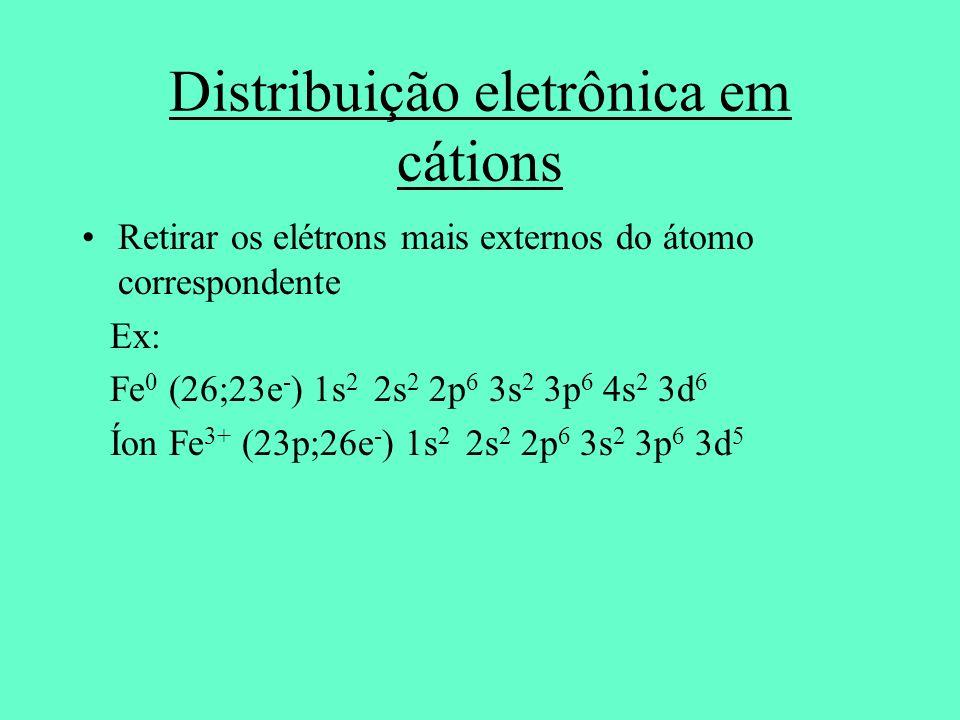 Distribuição eletrônica em cátions
