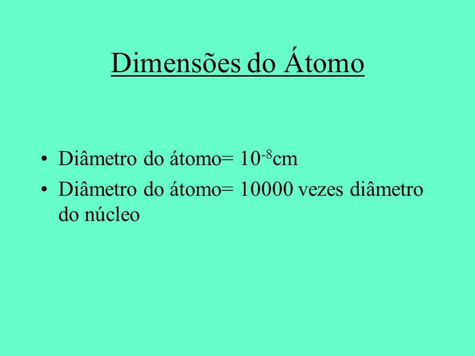 Dimensões do Átomo Diâmetro do átomo= 10-8cm
