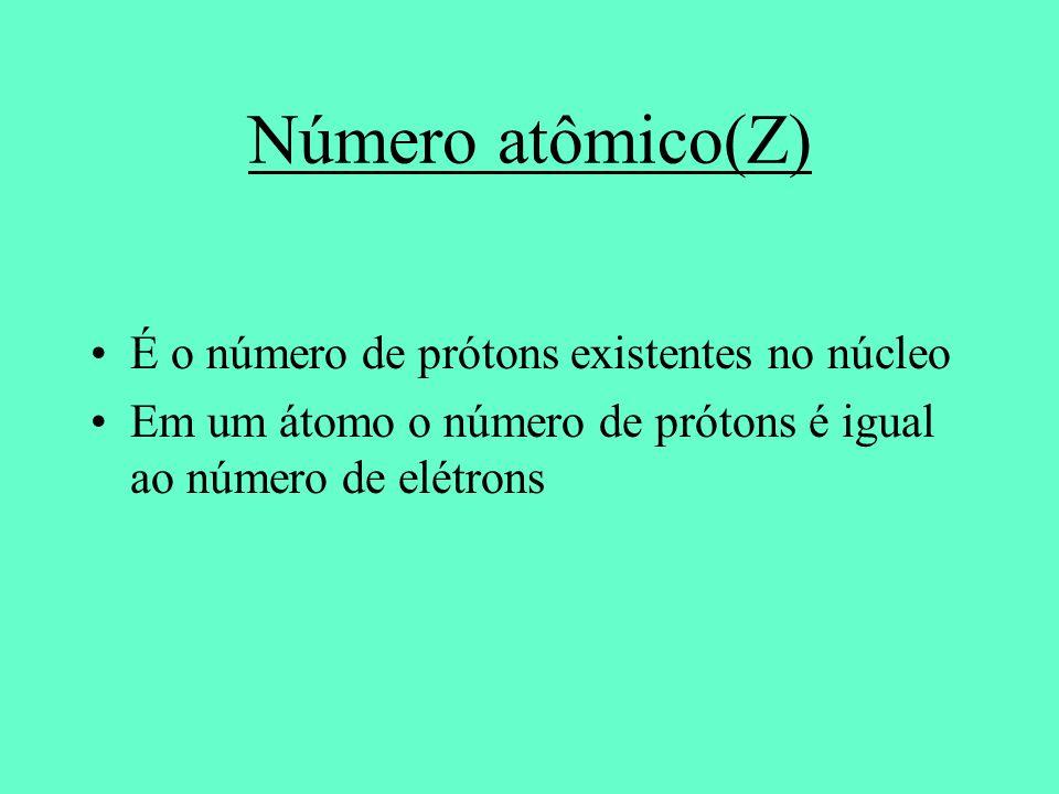 Número atômico(Z) É o número de prótons existentes no núcleo
