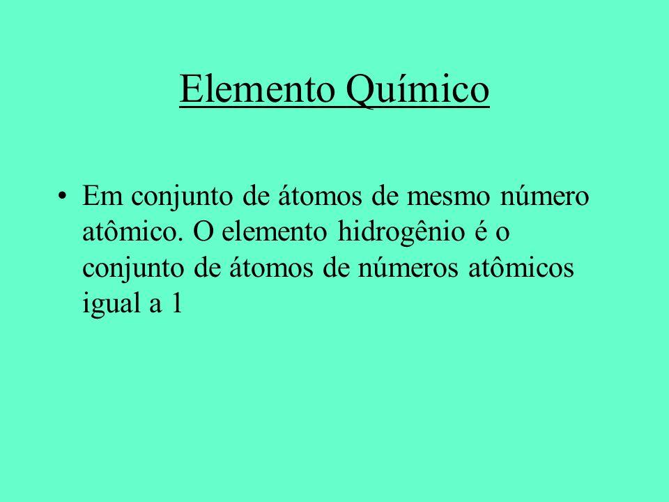 Elemento Químico Em conjunto de átomos de mesmo número atômico.