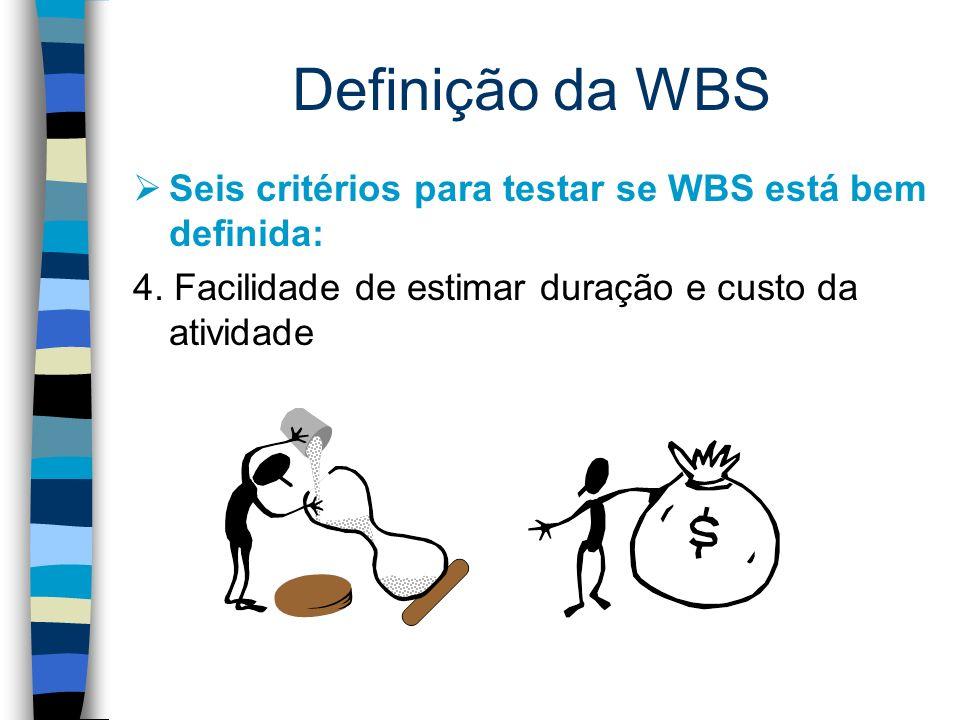 Definição da WBS Seis critérios para testar se WBS está bem definida: