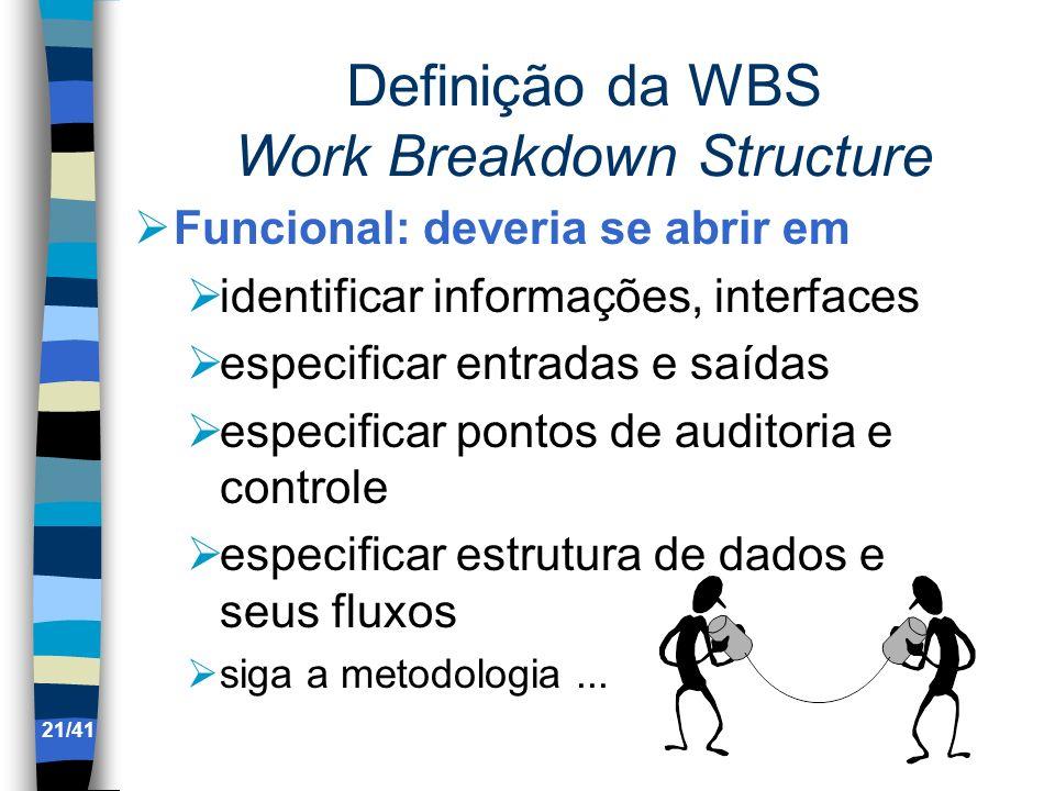 Definição da WBS Work Breakdown Structure