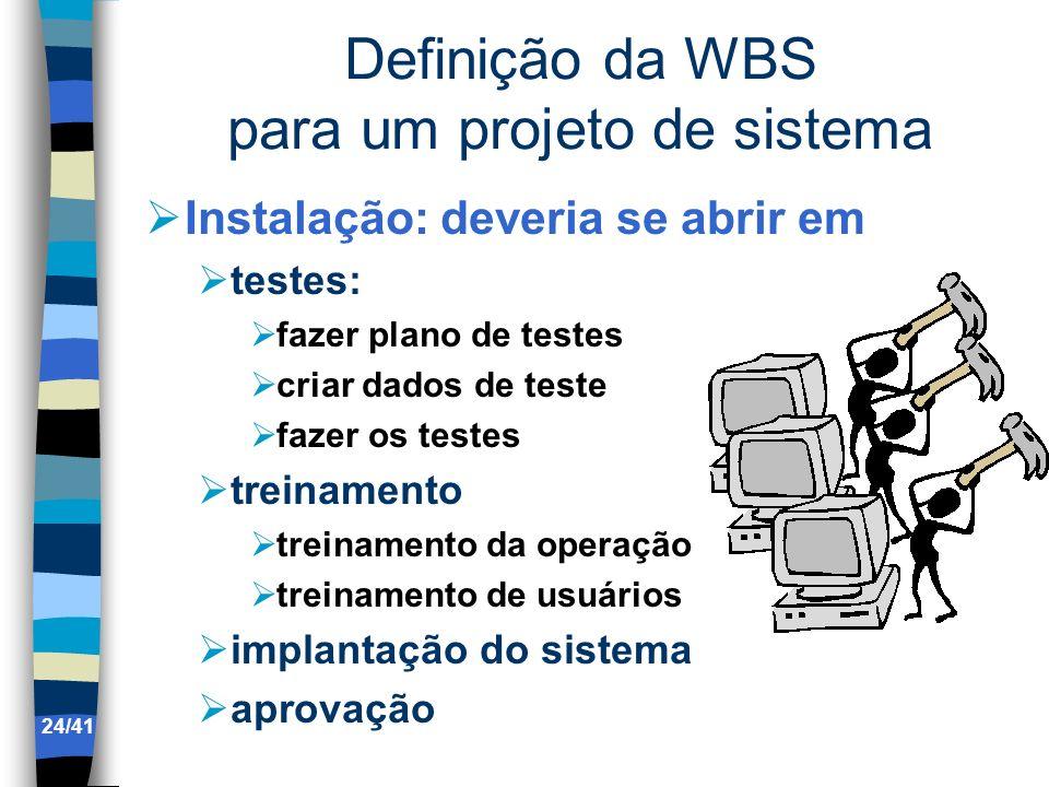 Definição da WBS para um projeto de sistema